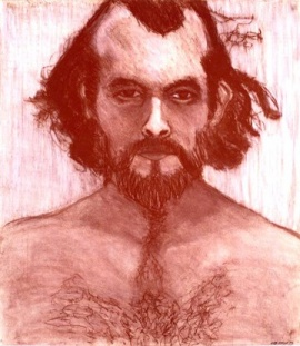Self-portrait: 1973; 15 x 18 inches; conte crayon