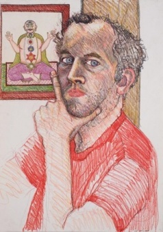 Self-portrait ; 1984; 29 x 21 inches; colored pencil