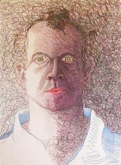 Self-portrait; 1981; 22 x 30 inches; colored pencil